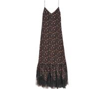 Lace-trimmed floral-print silk crepe de chine maxi dress