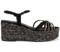 Nalia metallic leather and suede espadrille wedge sandals