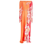 Off-the-shoulder Belted Floral-print Silk-twill Maxi Dress