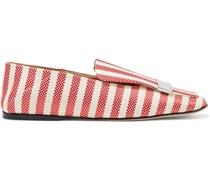 Sr1 Gestreifte Loafers aus Jacquard mit Einklappbarer Fersenpartie und Verzierung