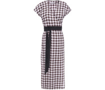 Gingham Linen Midi Wrap Dress