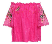 Off-the-shoulder Embroidered Lace Top Bright Pink Size 14