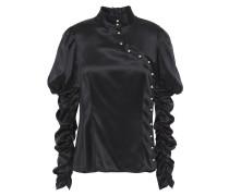 Ruched Embellished Silk-satin Top