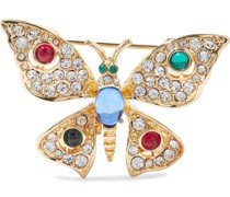 Gold-tone Crystal And Resin Brooch