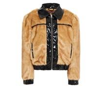 Pvc-trimmed Faux Fur Jacket