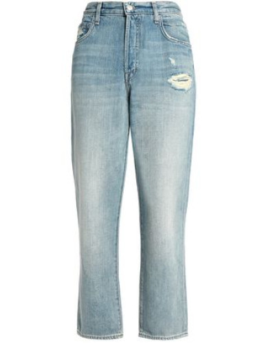 Ivy Cropped Distressed High-rise Straight-leg Jeans Light Denim  5