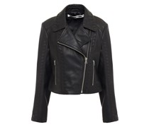 Whipstitched Leather Biker Jacket