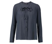 Bow-embellished Crepe Blouse Mitternachtsblau