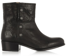 Lynn Military Studded Leather Ankle Boots Black