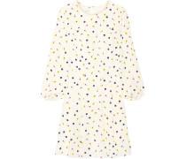 Pleated Floral-print Silk Dress Creme