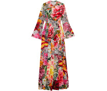 Woman Floral-print Pleated Voile Maxi Dress Multicolor
