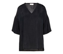 Gathered Washed-twill Top