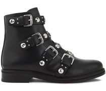 Woman Embellished Leather Ankle Boots Black