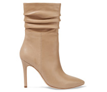 Ruched Leather Boots Beige