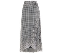 Ruffle-trimmed Gingham Stretch-mesh Midi Wrap Skirt