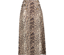 Studded Leopard-print Wool-crepe Midi Skirt Leoparden-Print