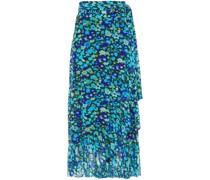 Ruffled Printed Stretch-mesh Midi Wrap Skirt