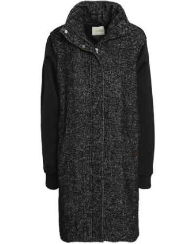 Satin-paneled Wool-blend Coat Black