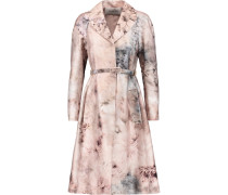 Belted Printed Cotton And Silk-blend Coat Mehrfarbig