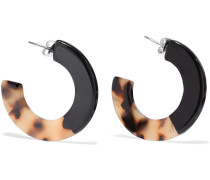 Jean Silver-tone Marbled Acetate Hoop Earrings