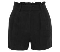 Gathered Linen-twill Shorts