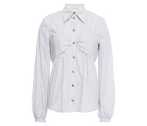 Melissa Ruched Striped Cotton-blend Poplin Shirt