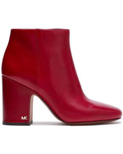 Glossed-leather Ankle Boots Claret