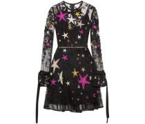 Belted Embellished Tulle Mini Dress Black