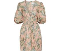 Tempest Lace-up Floral-print Silk Mini Dress Peach Size 00