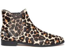 Leopard-print Calf Hair Ankle Boots