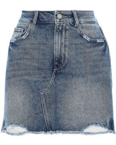 Gardera Distressed Denim Mini Skirt Mid Denim  3