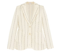 Embellished Striped Cotton-gauze Blazer Ecru