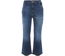 Woman Distressed High-rise Kick-flare Jeans Mid Denim
