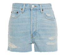 70s High Rise Jeansshorts in Distressed-optik