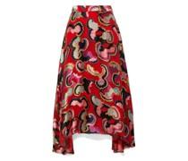 Judith Appliquéd Printed Satin Midi Skirt