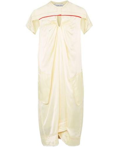 Ruched Satin-twill Dress Cream