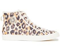 Appliquéd Leopard-print Canvas High-top Sneakers