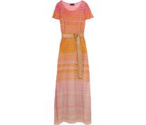 Belted Crochet-knit Maxi Dress Orange