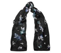 Floral-print Silk Scarf Schwarz