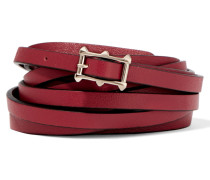 Textured-leather Skinny Belt Rot