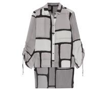 Ruched Printed Silk-blend Blouse Grau
