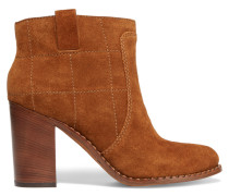 Stitched Suede Boots Braun