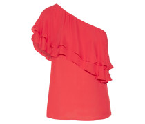 One-shoulder Ruffled Silk Top Rot