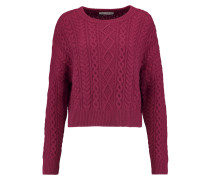 Cropped Cable-knit Sweater Bordeaux