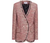 Doppelreihige Jacke aus Tweed aus Einer Baumwollmischung mit Fransen