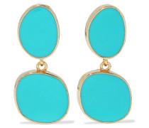 22-karat Gold-plated Enamel Clip Earrings