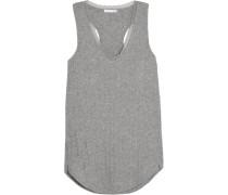 Lace-trimmed Ribbed Pima Cotton Pajama Top Grau