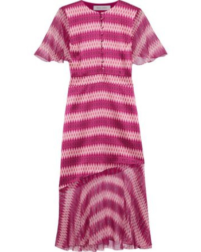 Printed Metallic Chiffon-paneled Silk-satin Dress Magenta