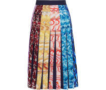 Nyx Pleated Printed Crepe Skirt