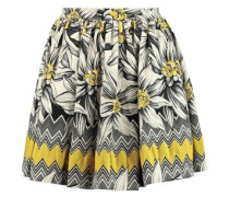Tania pleated cotton-blend jacquard mini skirt
